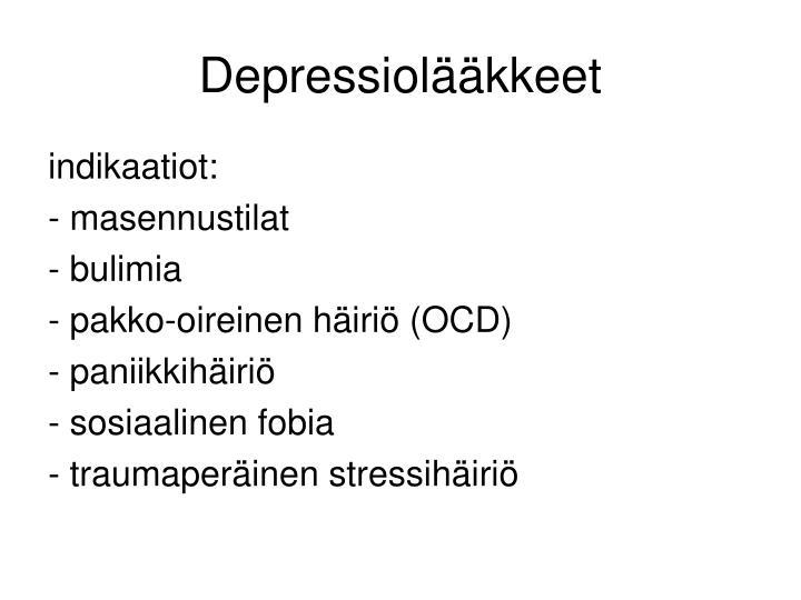 Depressiolääkkeet