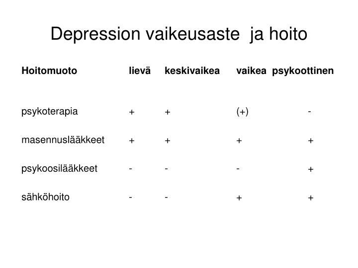 Depression vaikeusaste  ja hoito