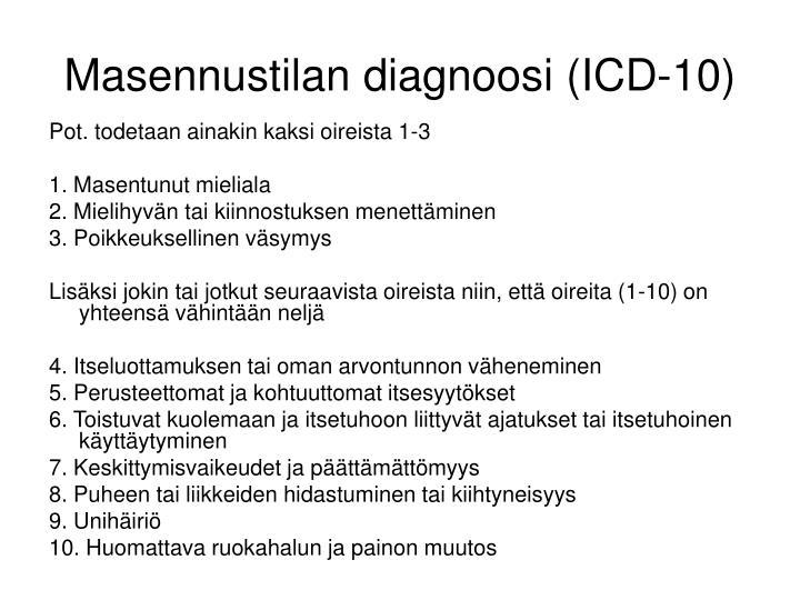Masennustilan diagnoosi (ICD-10)