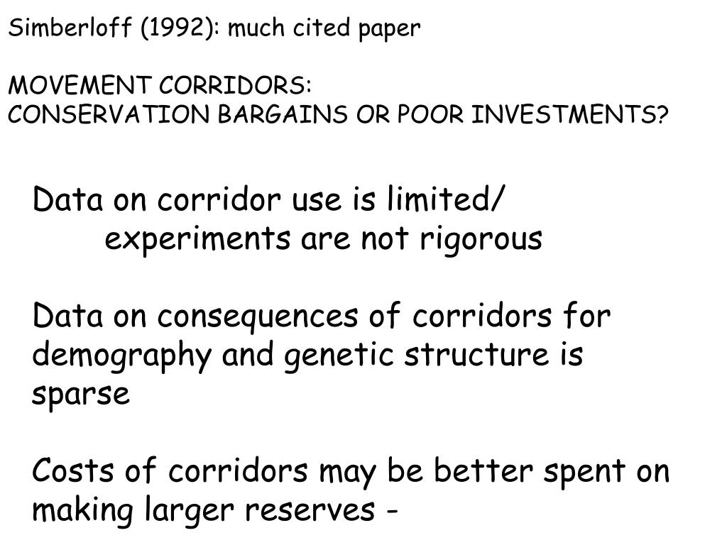 Simberloff (1992): much cited paper