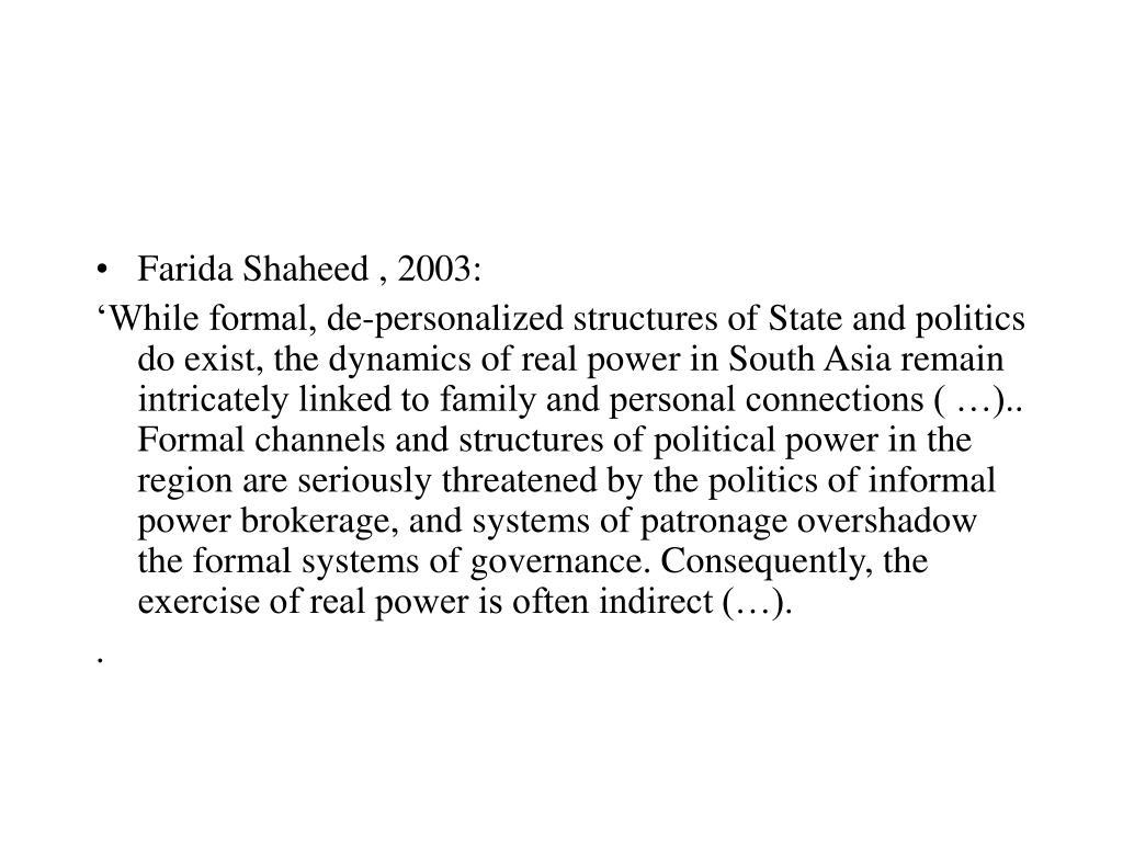 Farida Shaheed , 2003: