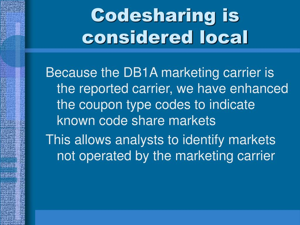 Codesharing is considered local