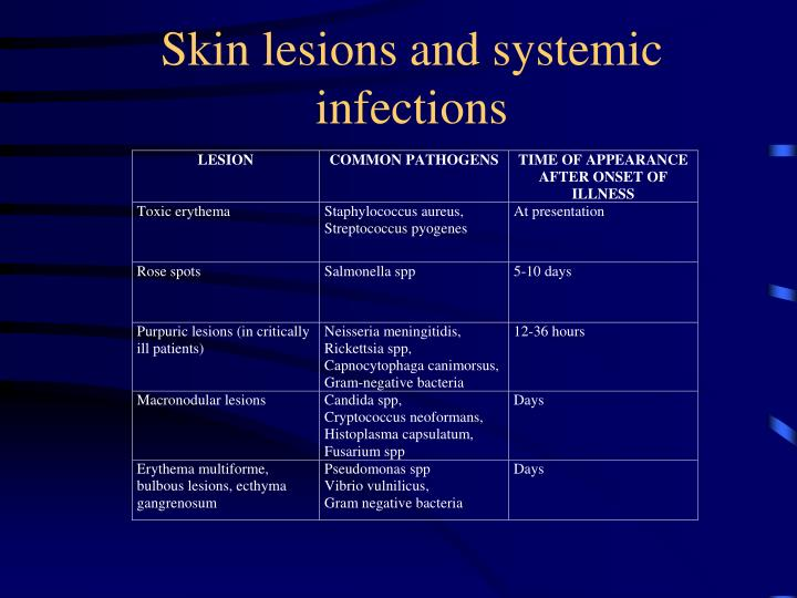 Skin lesions and systemic infections