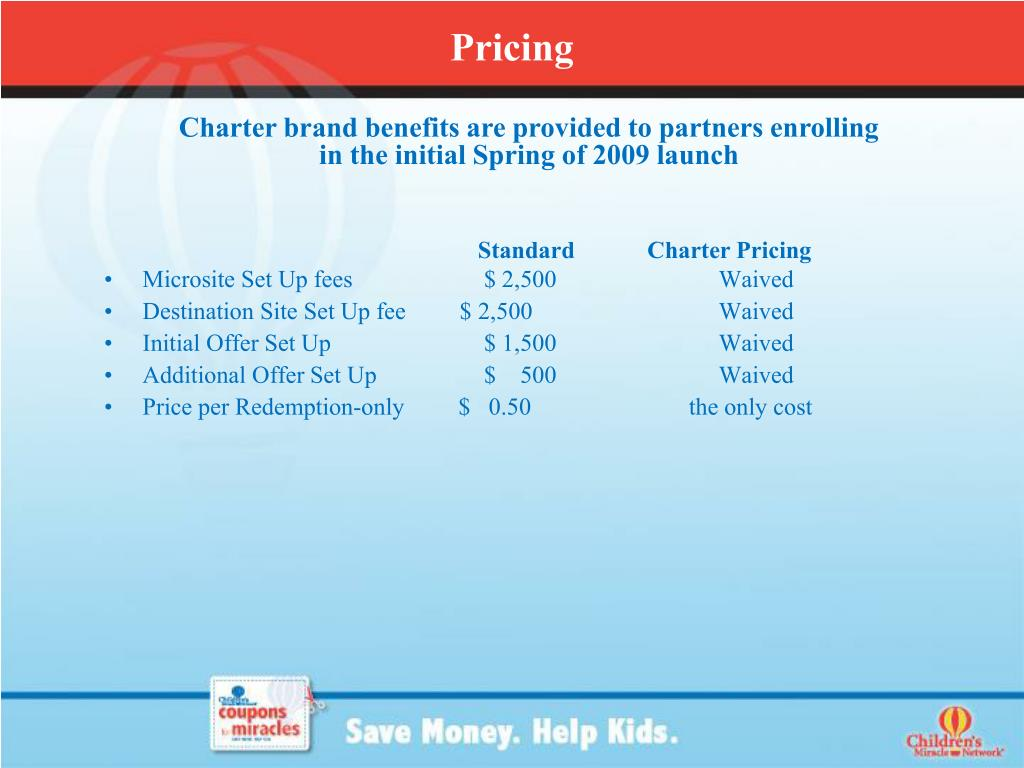 Standard            Charter Pricing