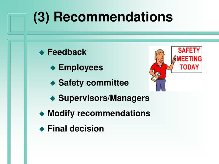 (3) Recommendations