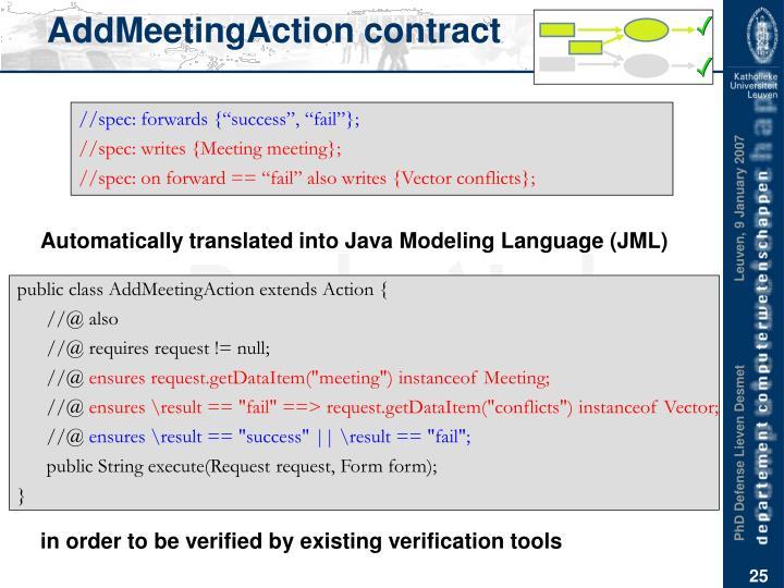 AddMeetingAction contract