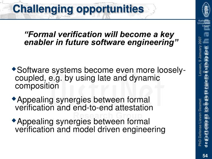 Challenging opportunities