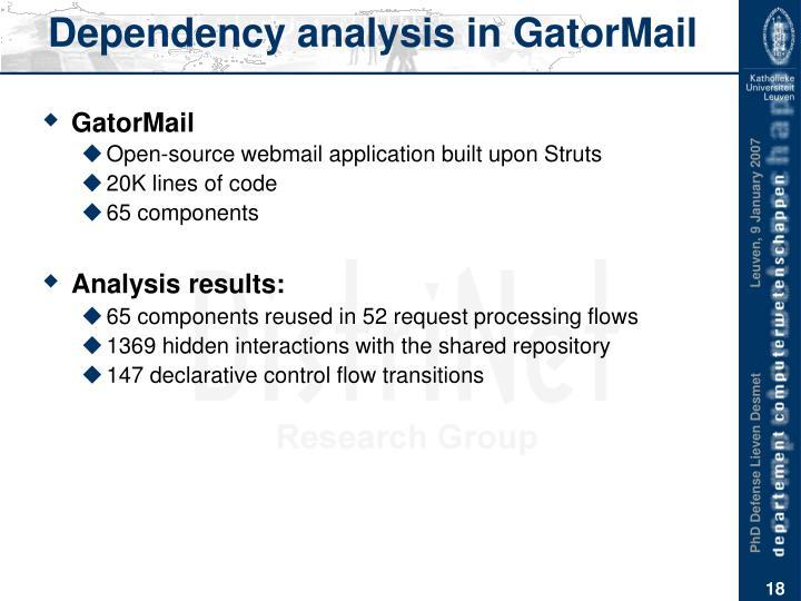 Dependency analysis in GatorMail