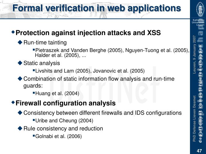 Formal verification in web applications