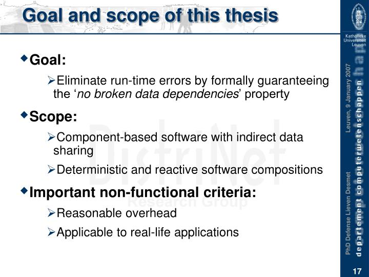 Goal and scope of this thesis