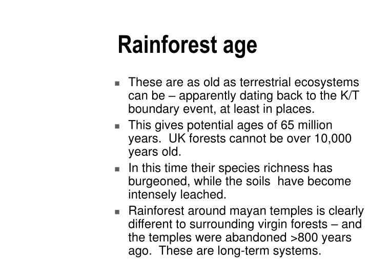 Rainforest age