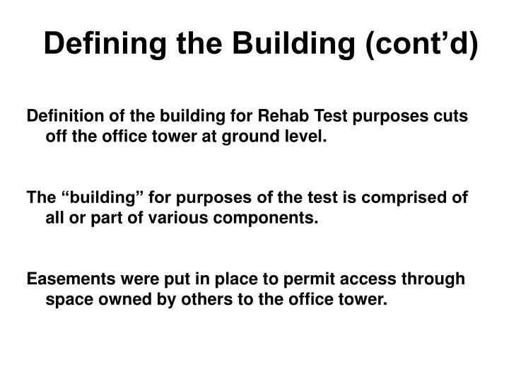 Defining the Building (cont'd)