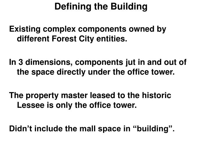 Defining the Building
