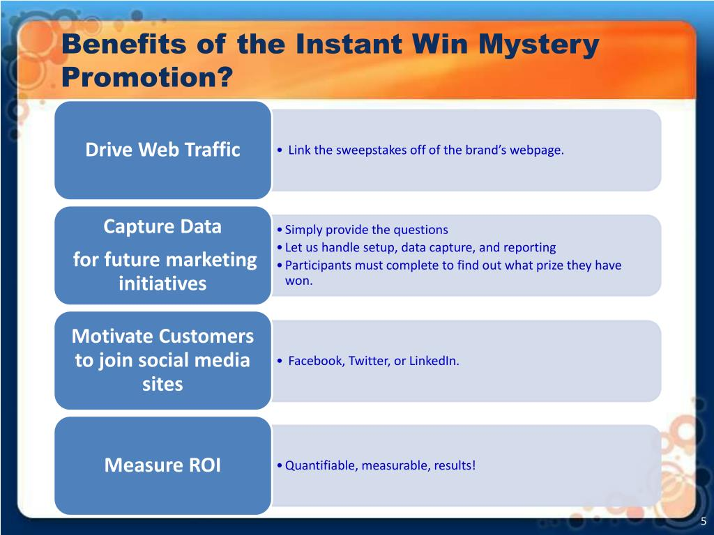 Benefits of the Instant Win Mystery Promotion?
