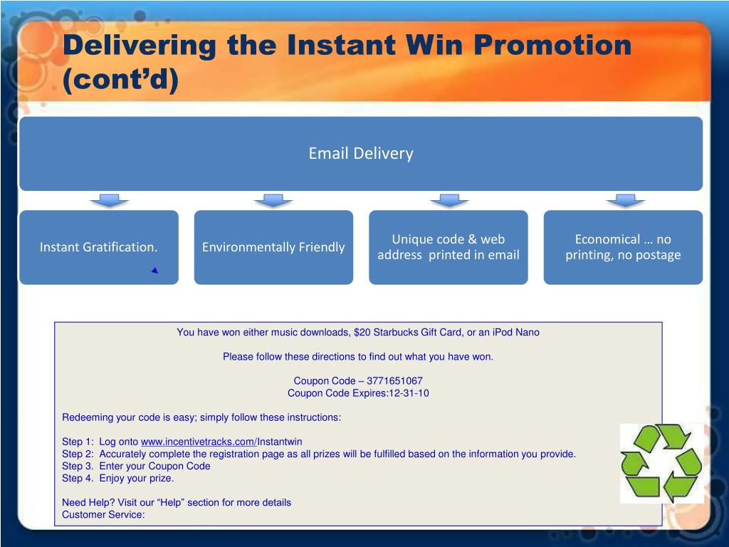 Delivering the Instant Win Promotion (cont'd)