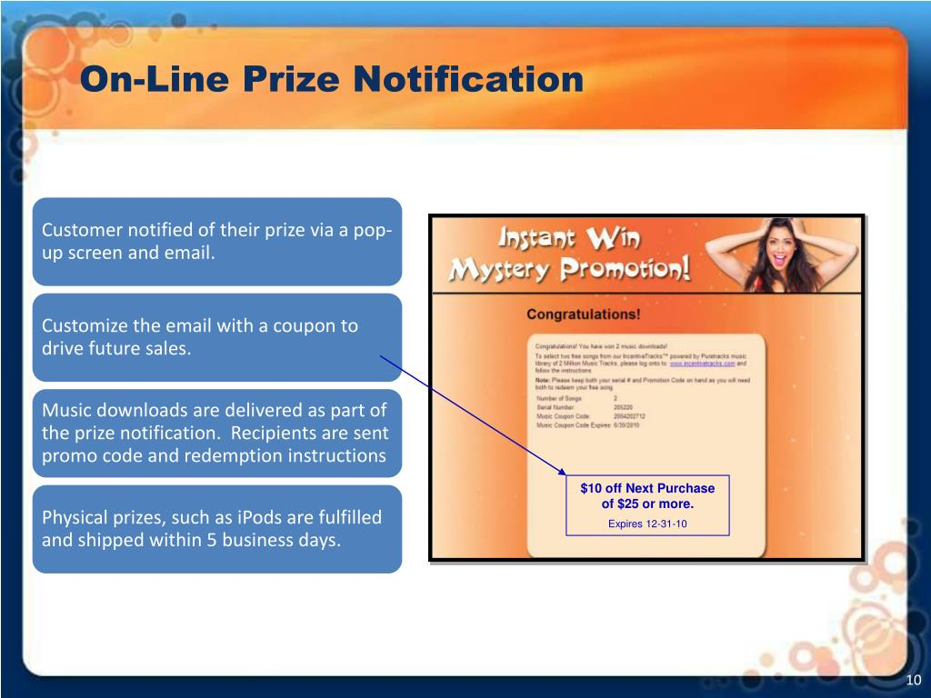 On-Line Prize Notification