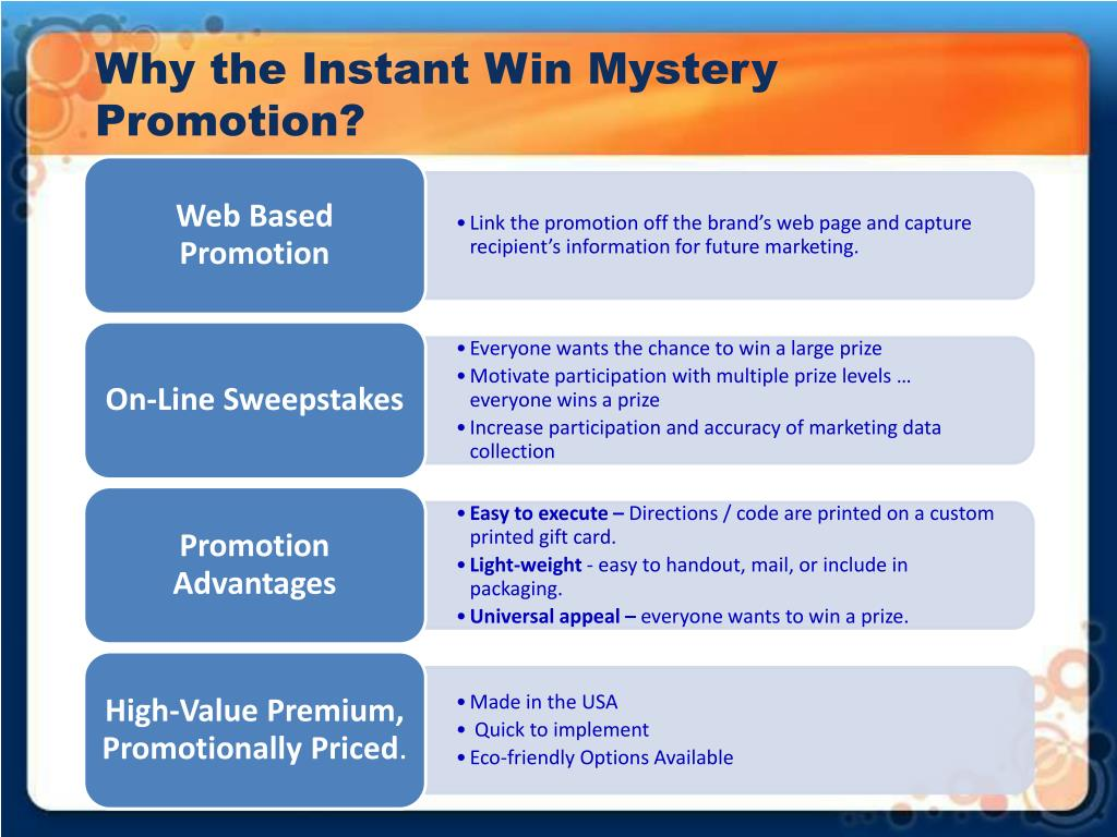 Why the Instant Win Mystery Promotion?