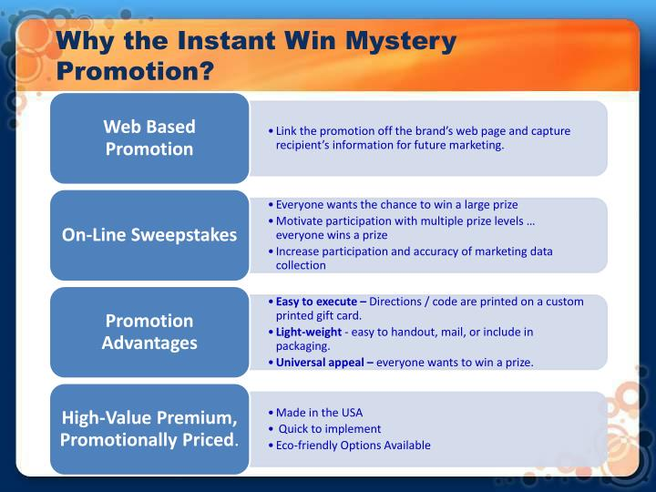 Why the instant win mystery promotion