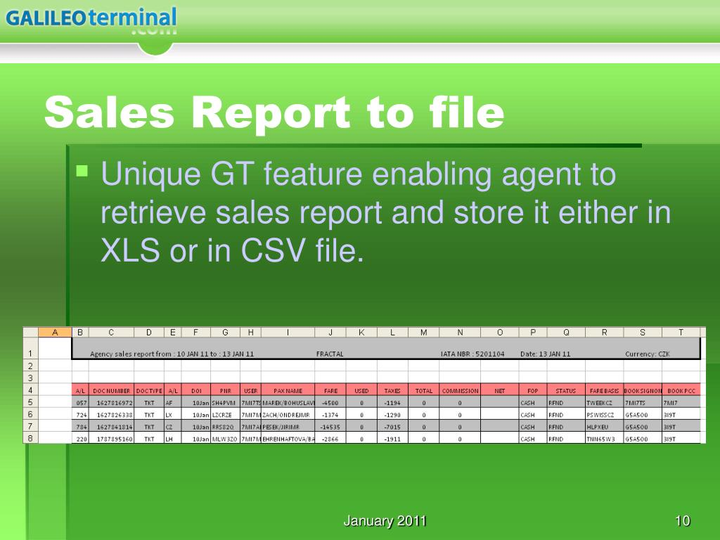 Sales Report to file