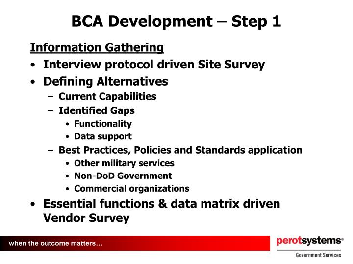 BCA Development – Step 1