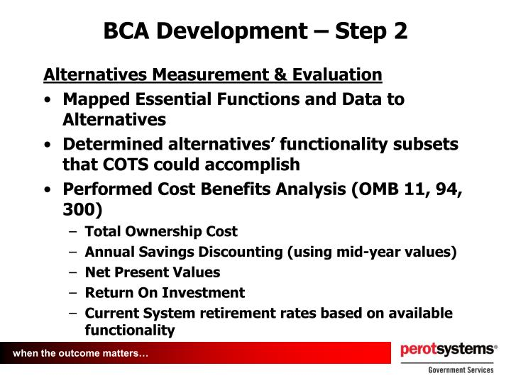 BCA Development – Step 2