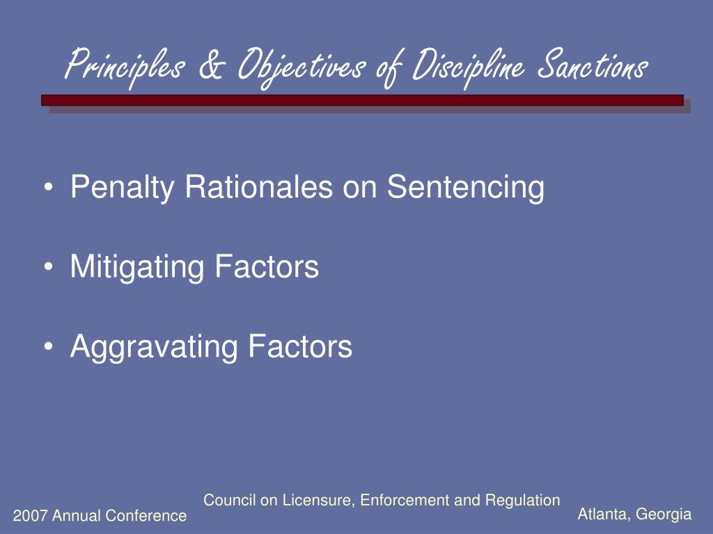 Principles & Objectives of Discipline Sanctions