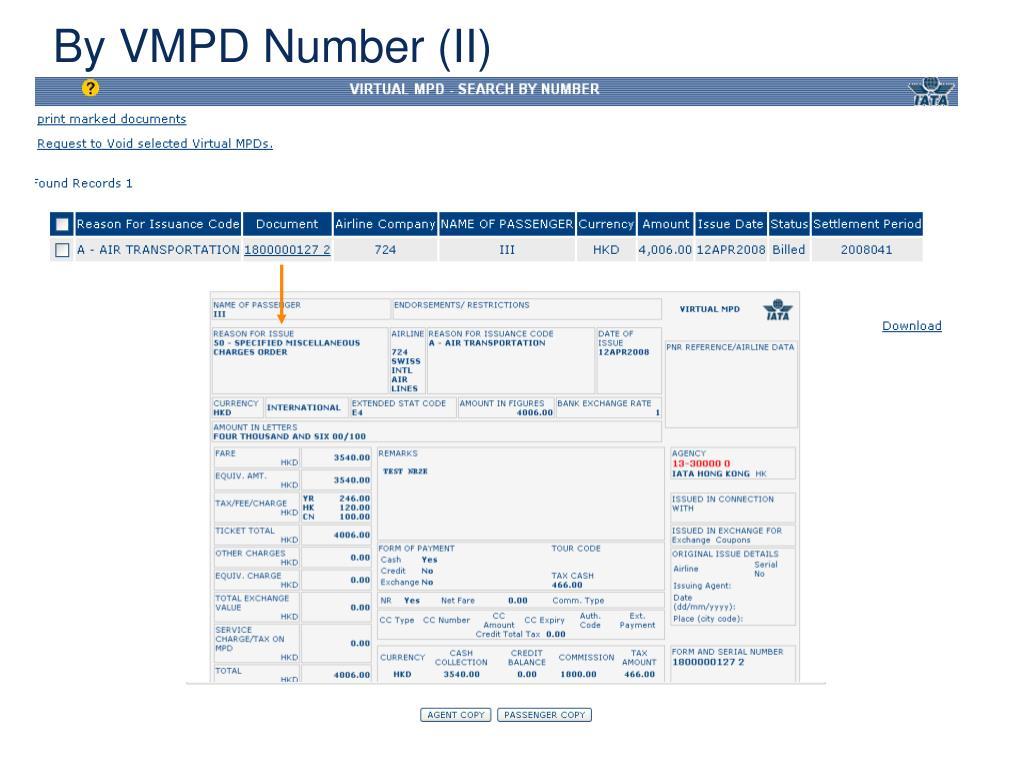 By VMPD Number (II)