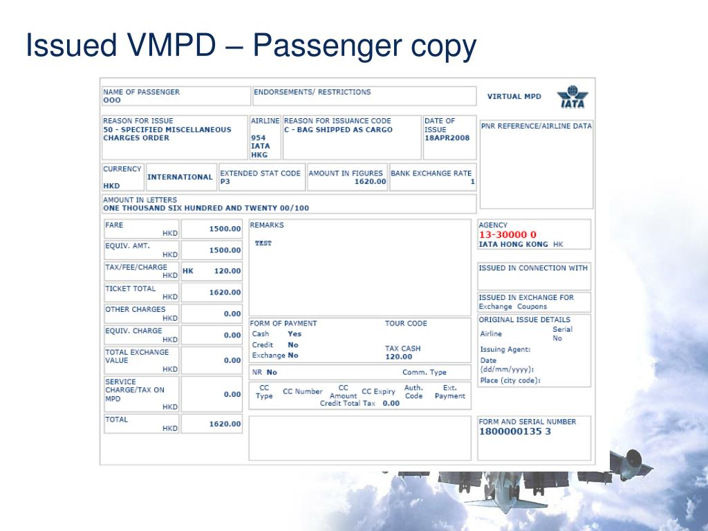 Issued VMPD – Passenger copy