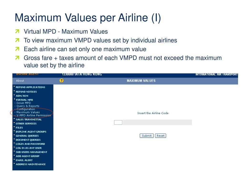Maximum Values per Airline (I)