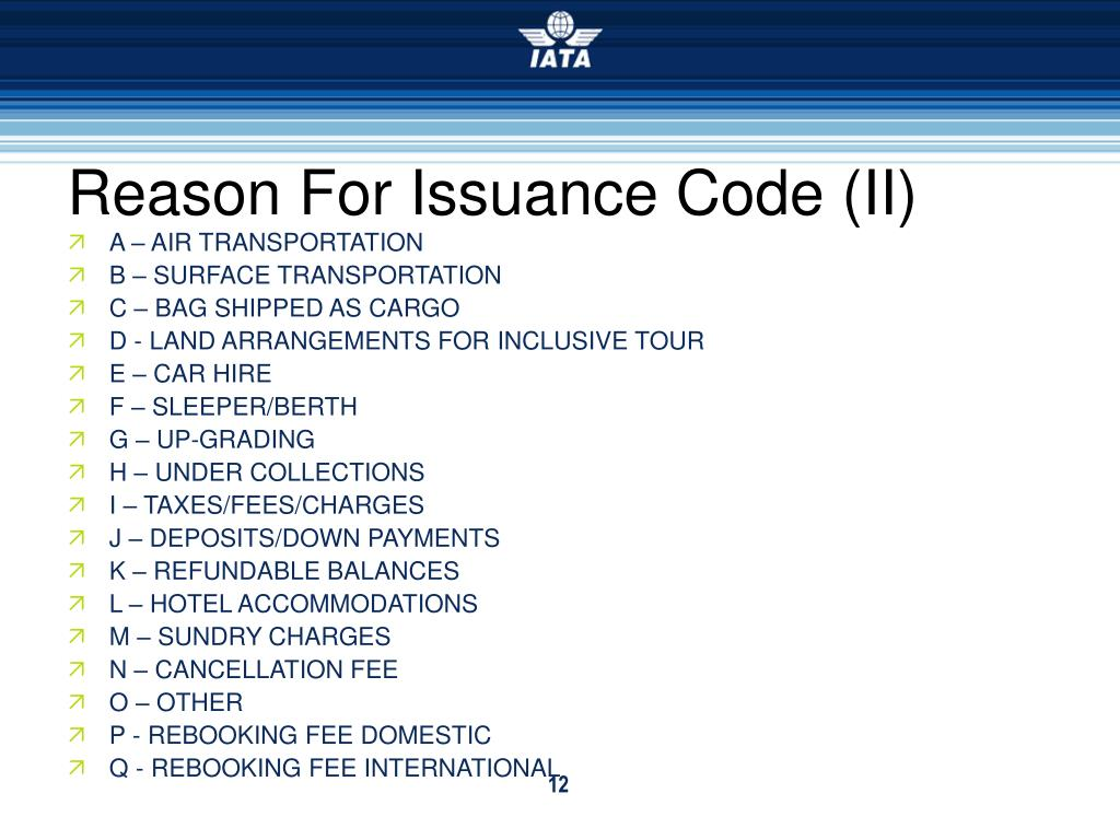 Reason For Issuance Code (II)