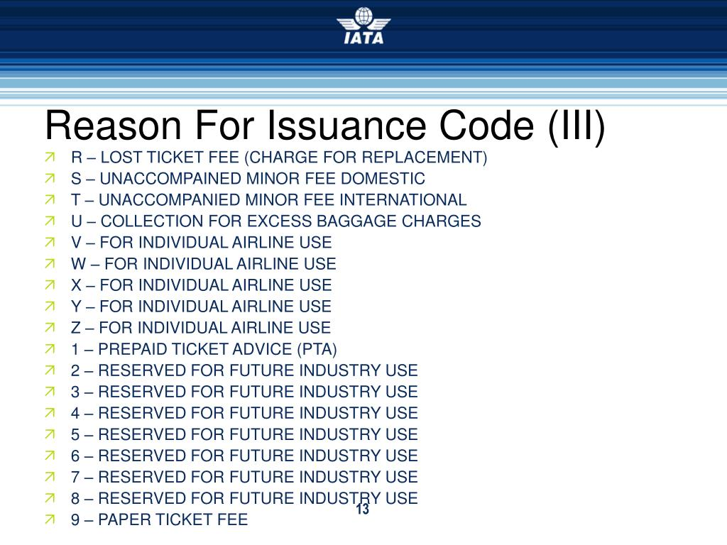 Reason For Issuance Code (III)