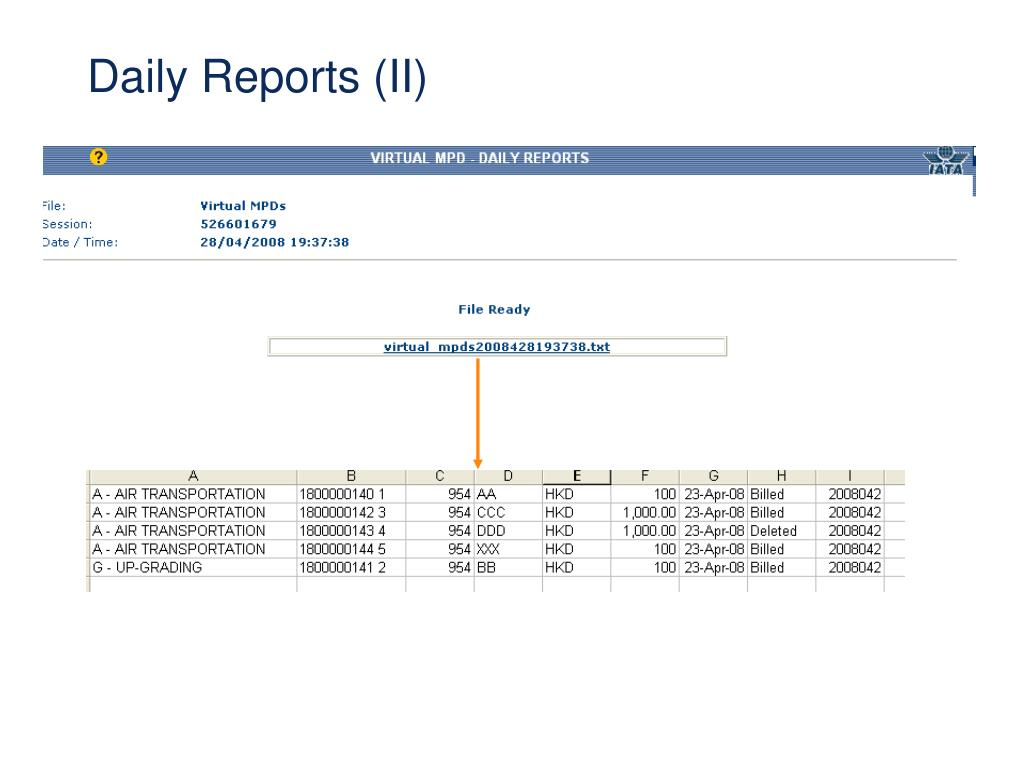 Daily Reports (II)