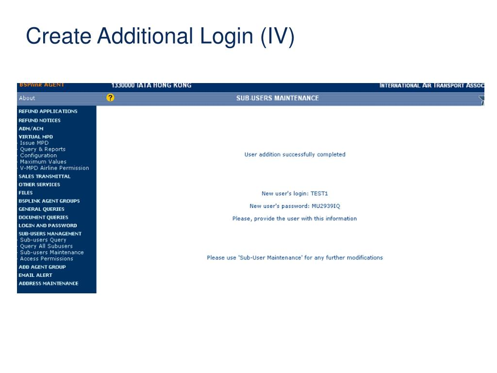 Create Additional Login (IV)