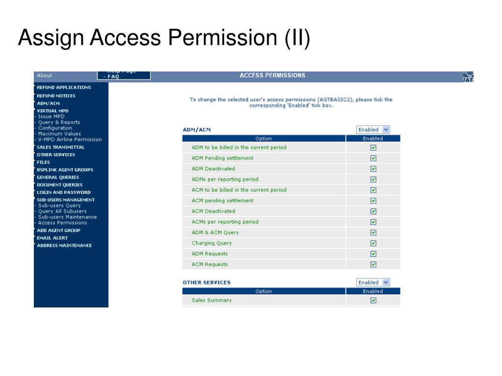 Assign Access Permission (II)