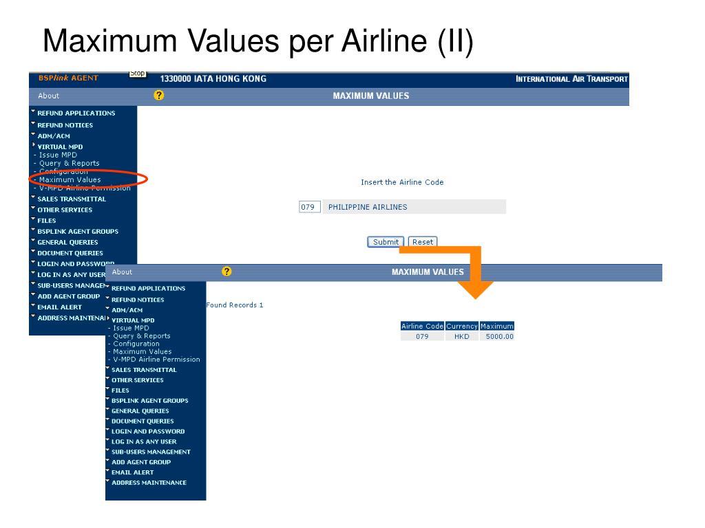 Maximum Values per Airline (II)