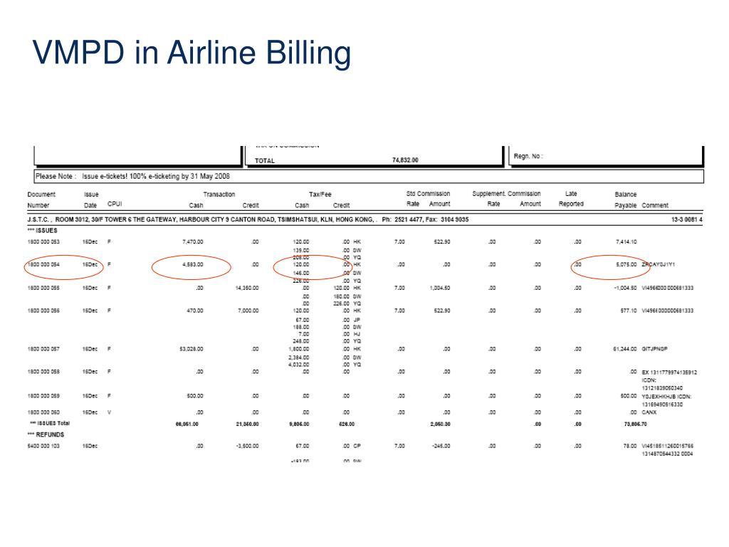 VMPD in Airline Billing