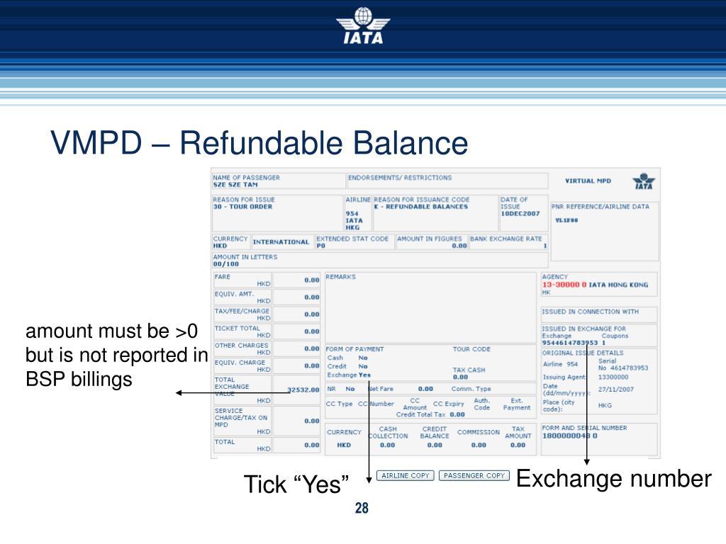 VMPD – Refundable Balance