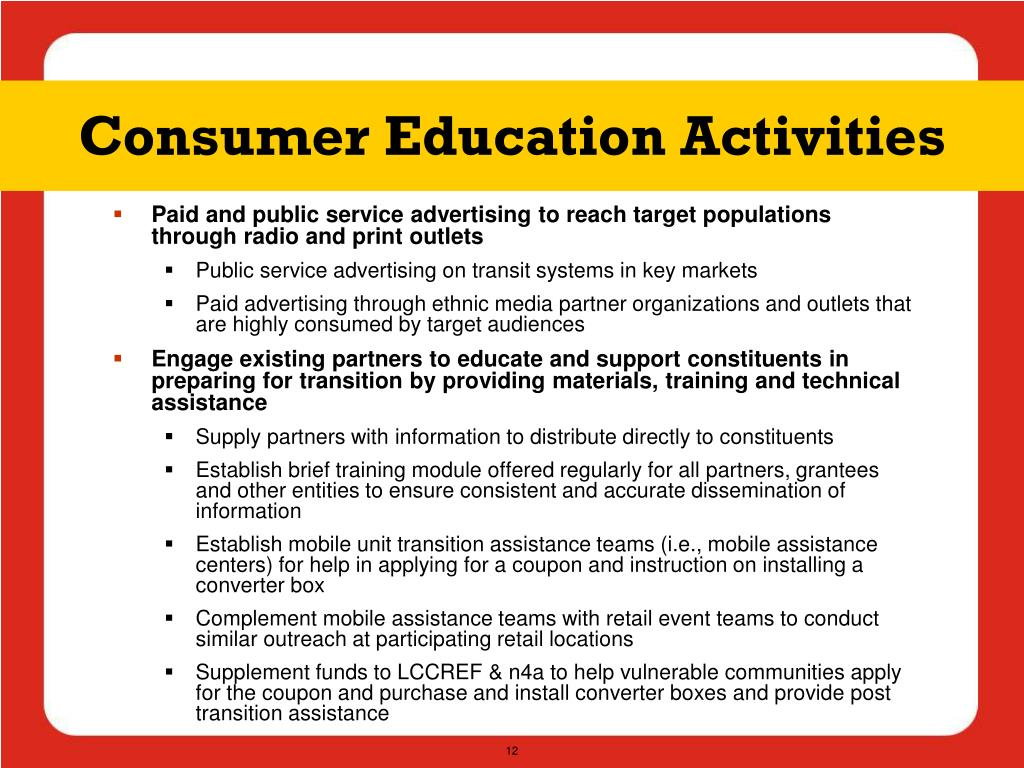 Consumer Education Activities