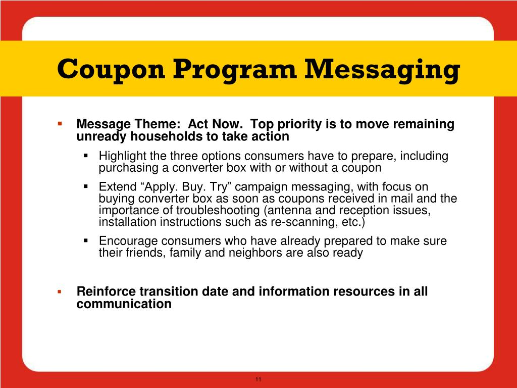 Coupon Program Messaging