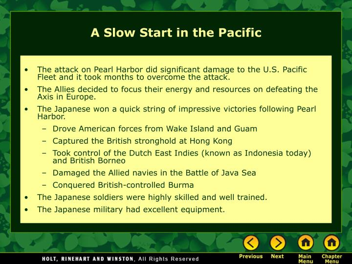 The attack on Pearl Harbor did significant damage to the U.S. Pacific Fleet and it took months to overcome the attack.