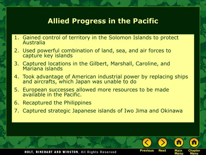 Gained control of territory in the Solomon Islands to protect Australia