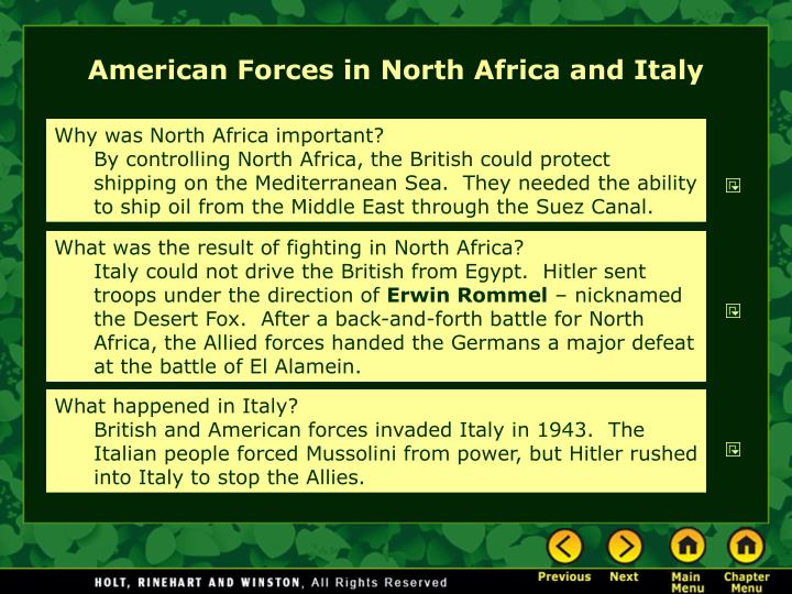American Forces in North Africa and Italy