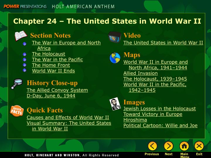 Chapter 24 – The United States in World War II