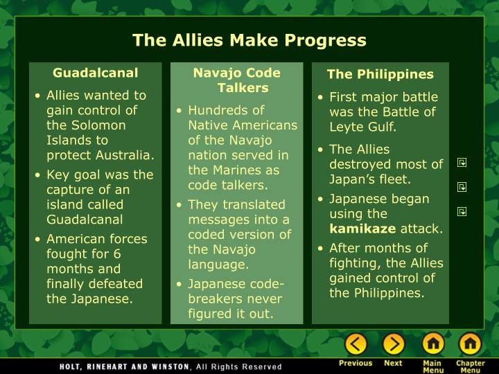 The Allies Make Progress