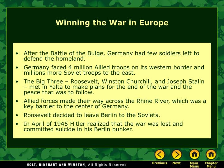 After the Battle of the Bulge, Germany had few soldiers left to defend the homeland.