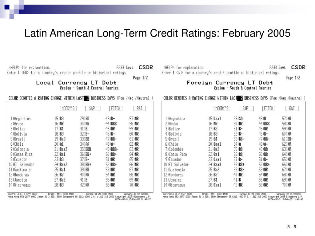 Latin American Long-Term Credit Ratings: February 2005