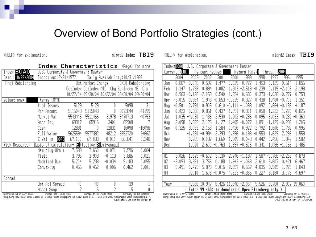 Overview of Bond Portfolio Strategies (cont.)
