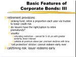 basic features of corporate bonds iii