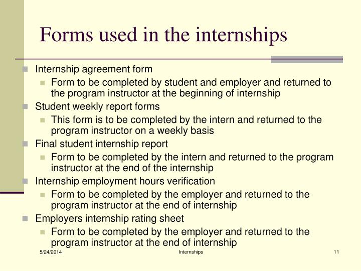 Forms used in the internships