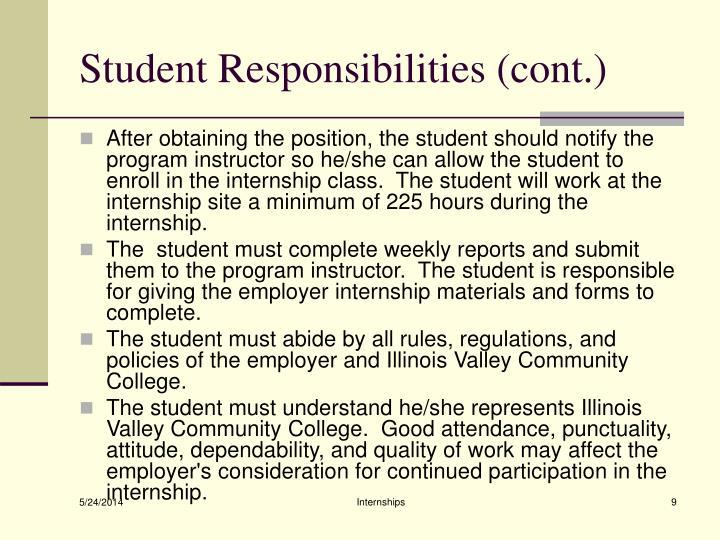 Student Responsibilities (cont.)